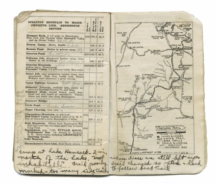 The 1924 Long Trail Guidebook used by Catherine Robbins on her hike w/notes