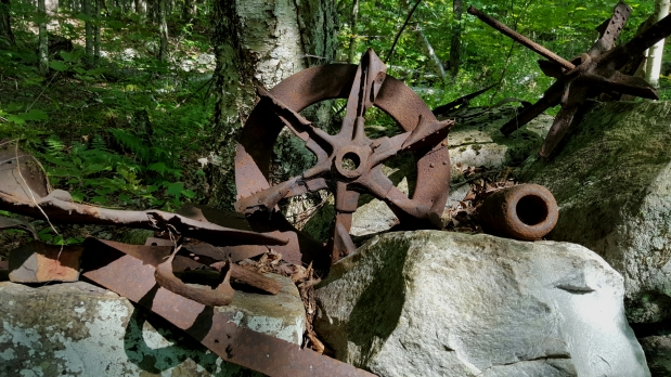 Old farm equipment along the trail
