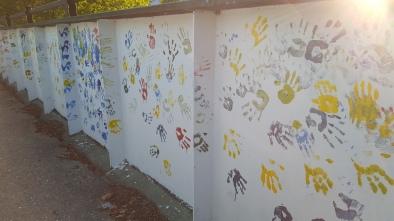 Appalachian Trail Approaching North Adams, Massachusetts Handprints of children on bridge