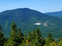 View from Baker Peak Dorset Mountain with famous marble quarry Taconic Range
