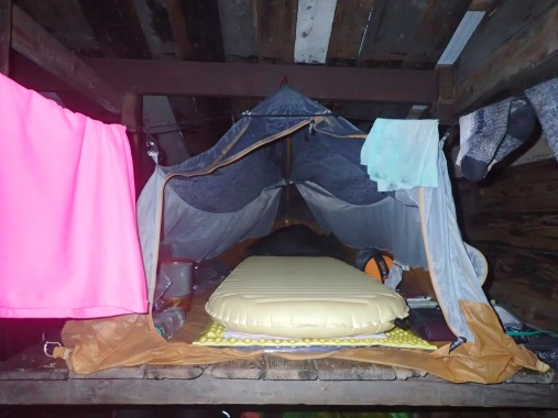 I learned how to rig my tent up in a shelter...