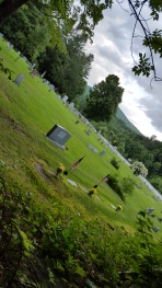 Trail runs along side this cemetery south of VT 15