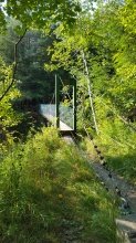 Suspension bridge over Mill River/Clarendon Gorge