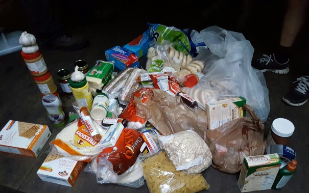 Food supply for a high school group on orientation week at Stratton Pond Shelter